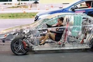 女司机开全透明车 回头率爆表